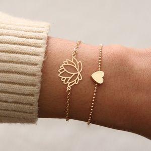 *SADIE* 2-Pc Gold Lotus Flower Heart Bracelet Set